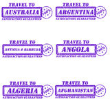 Travel to Stamps. Set of stamps travel to australia,argentina,antigua,angola,algeria,afghanistan Stock Photography