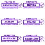 Travel to stamps. Set of stamps travel to bangladesh,benin,bahrain,belize,bahamas,barbados Stock Photos