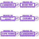 Travel to stamps. Set of stamps travel to cambodia,burundi,canada,cape verde,cameroon,central african republic Royalty Free Stock Photo