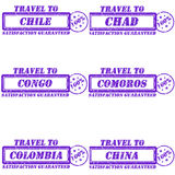 Travel to stamps. Set of stamps travel to chile,chad,congo,comoros,colombia,china Royalty Free Stock Image