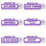 Travel to stamps. Set of stamps travel to ecuador,east timor,eritrea,equatorial guinea,el salvador,egypt Stock Photo
