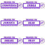 Travel to stamps. Set of stamps travel to indonesia,india,jamaica,iraq,israel,iran Royalty Free Stock Photography