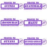 Travel to stamps. Set of stamps travel to guinea,guatemala,honduras,haiti,guyana,guinea-bisau Stock Image