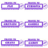 Travel to stamps. Set of stamps travel to fiji,ethiopia,grenada,gambia,ghana,gabon Stock Images