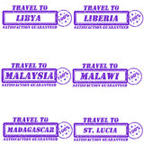 Travel to stamps. Set of stamps travel to libya,liberia,malaysia,malawi,madagascar,st.lucia Royalty Free Stock Photo