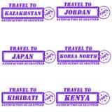 Travel to stamps. Set of stamps travel to kazakhstan,jordan,japan,korea north,kiribati,kenya Royalty Free Stock Image