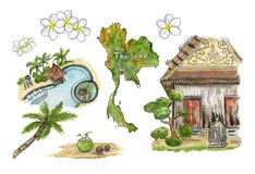 Travel to Thailand. Collection of sketches: palm trees, coconuts, pool, map, plumeria and the old temple. stock photography