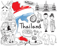 Travel to Thailand Siam doodle drawing icon Stock Images