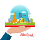 Travel to Thailand Vector Concept in Flat Design Royalty Free Stock Photography