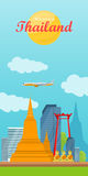 Travel to Thailand Vector Concept in Flat Design Royalty Free Stock Image
