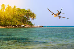 Travel to tropical vacation on idillic island Stock Images