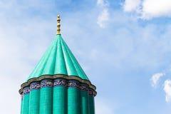 Green dome of Rumi Mausoleum in Konya. Travel to Turkey - green dome of Mausoleum of Jalal ad-Din Muhammad Rumi (Mevlana) and Dervish Lodge (Tekke) of the muslim Royalty Free Stock Photo
