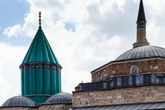 Green dome and roof of Rumi Mausoleum in Konya. Travel to Turkey - green dome and roof of Mausoleum of Jalal ad-Din Muhammad Rumi (Mevlana) and Dervish Lodge ( Royalty Free Stock Image