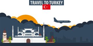 Travel to Turkey. Travel and Tourism banner. Clouds and sun with Royalty Free Stock Images