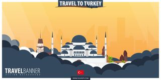 Travel to Turkey. Travel and Tourism poster. Vector flat illustr Stock Photos