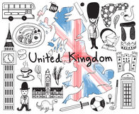 Travel to United kingdom England and Scotland doodle drawing Stock Image