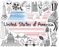 Travel to United state of America doodle drawing icon. With culture, costume, landmark and cuisine tourism concept in isolated background, create by vector Royalty Free Stock Photos