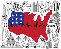 Travel to United state of America doodle drawing icon Royalty Free Stock Image