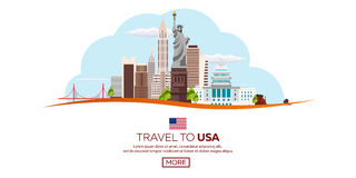 Travel to USA, New York Poster skyline. Statue of Liberty. Vector illustration. Stock Images