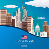 Travel to USA, New York Poster skyline. Statue of Liberty. Vector illustration. Royalty Free Stock Images