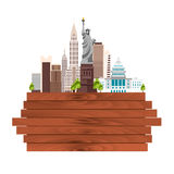 Travel to USA, New York Poster skyline. Statue of Liberty. Wooden frame. Vector illustration. royalty free illustration