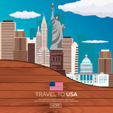Travel to USA, New York Poster skyline. Statue of Liberty. Wooden frame. Vector illustration. Royalty Free Stock Photos