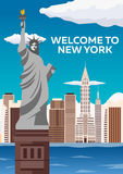 Travel to USA, New York Poster skyline. Welcome to New York. Statue of Liberty. Vector illustration. royalty free illustration
