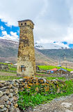 The travel to Ushguli. The best way to discover Svaneti is to visit its mountain settlements, such as Ushguli, the highest settlement in Europe, Georgia Royalty Free Stock Image