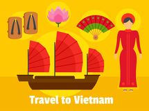 Travel to Vietnam background, flat style. Travel to Vietnam background. Flat illustration of travel to Vietnam vector background for web design Royalty Free Stock Photo