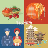 Travel to Vietnam card with colorful icons Royalty Free Stock Photos