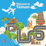 Travel to Vietnam card with map, road and sky. Set of traditional Vietnamese cultural symbols. Vietnamese landmarks and lifestyle of Vietnamese people vector illustration