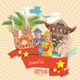 Travel to Vietnam card with pagoda, temple and yellow stars. Set of traditional Vietnamese cultural symbols. Vietnamese landmarks and lifestyle of Vietnamese Royalty Free Stock Photos