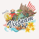 Travel to Vietnam card. Set of traditional Vietnamese cultural symbols. Vietnamese landmarks and lifestyle of Vietnamese people Stock Photos