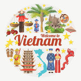 Travel to Vietnam card with vietnamese ethnic icons. Set of traditional Vietnamese cultural symbols. Vietnamese landmarks and lifestyle of Vietnamese people Stock Photos