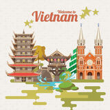 Travel to Vietnam card with vietnamese pagodas. Travel to Vietnam card with with vietnamese pagodas. Set of traditional Vietnamese cultural symbols. Vietnamese Stock Image