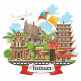 Travel to Vietnam poster with airplane. Set of traditional Vietnamese cultural symbols. Vietnamese landmarks and lifestyle of Vietnamese people Royalty Free Stock Photos