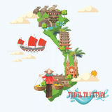Travel to Vietnam poster with green Vietnamese map. Travel to Vietnam with green Vietnamese map. Set of traditional Vietnamese cultural symbols. Vietnamese stock illustration