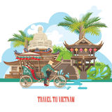 Travel to Vietnam poster. Set of traditional Vietnamese cultural symbols. Vietnamese landmarks and lifestyle of Vietnamese people royalty free illustration