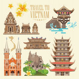 Travel to Vietnam set on light background. Set of traditional Vietnamese cultural symbols. Vietnamese landmarks and lifestyle of Vietnamese people Royalty Free Stock Photo