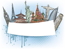 Travel to the wonders of the world banner Stock Images