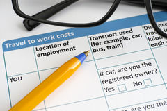 Travel to work costs Stock Photo