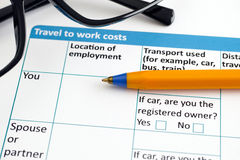 Travel to work costs application form Stock Photos
