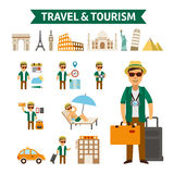 Travel to World, flat design  illustration. Stock Image