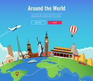 Travel to World. Road trip. Tourism. Landmarks on the globe. Concept website template. Vector. Illustration Royalty Free Stock Photo