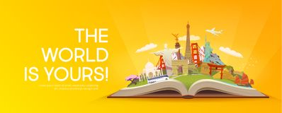 Travel to World. Open book with landmarks. Royalty Free Stock Image
