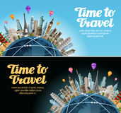 Travel to world. Trip. Landmarks on globe. Vacation or tourism Royalty Free Stock Photography