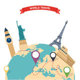 Travel to World. Trip to World. Road trip. Tourism. Vector illus Stock Photography