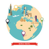 Travel to World. Trip to World. Road trip. Tourism. Vector illus Royalty Free Stock Photos