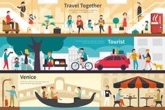 Travel Together Tourist Venice flat interior outdoor concept web Stock Photos