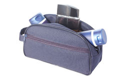 Travel toiletries bag with man`s cosmetics Royalty Free Stock Photos